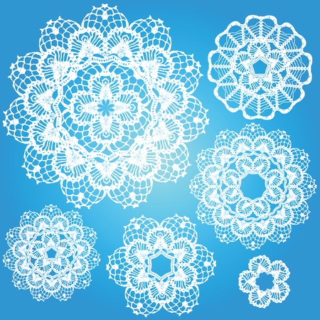 lace filigree: Set of snowflakes doilies.