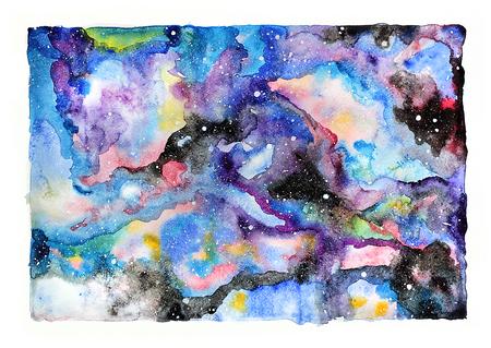 night sky: Watercolor galaxy illustration. Raster trendy modern illustration.