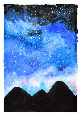 Watercolor galaxy illustration. Raster trendy modern illustration. Imagens - 46675105