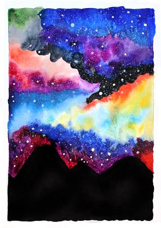 stars sky: Watercolor galaxy illustration. Raster trendy modern illustration.