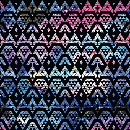 fractal background: Galaxy seamless pattern with triangles and geometric shapes. Vector trendy illustration.