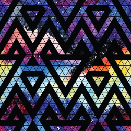 retro seamless pattern: Galaxy seamless pattern with triangles and geometric shapes. Vector trendy illustration.