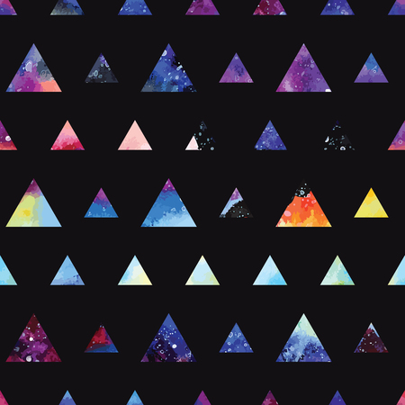 fashion design: Galaxy seamless pattern with triangles and geometric shapes. Vector trendy illustration.