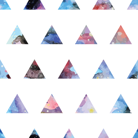cosmos: Galaxy seamless pattern with triangles and geometric shapes. Vector trendy illustration.