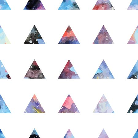 retro grunge: Galaxy seamless pattern with triangles and geometric shapes. Vector trendy illustration.