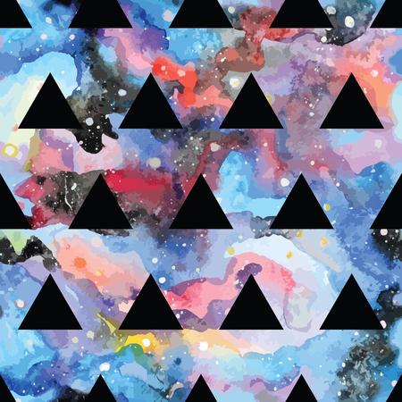 forme: Seamless Galaxy avec des triangles et des formes géométriques. Vector illustration tendance.