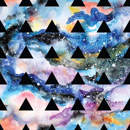 universe: Galaxy seamless pattern with triangles and geometric shapes. Vector trendy illustration.