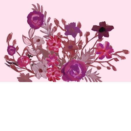 occasions: Floral card. Gouache beautiful elegant illustration. Vector image. May be used for wedding invitations or other occasions.