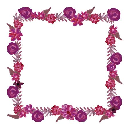 square frame: Gouache beautiful elegant illustration. Vector image. May be used for invitations, cards, wedding.