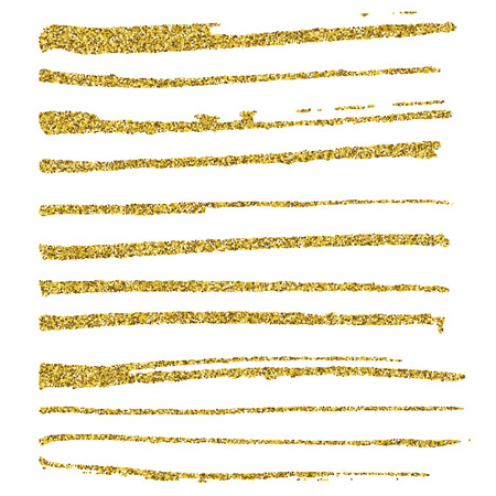 Set of glitter brush strokes.  Ilustração