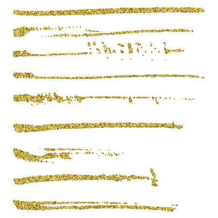 oro: Conjunto de trazos de pincel brillo.