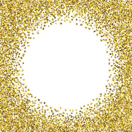 Round glitter gold frame.  Illustration