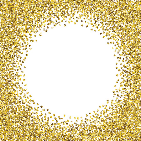 Round glitter gold frame.  Illustration