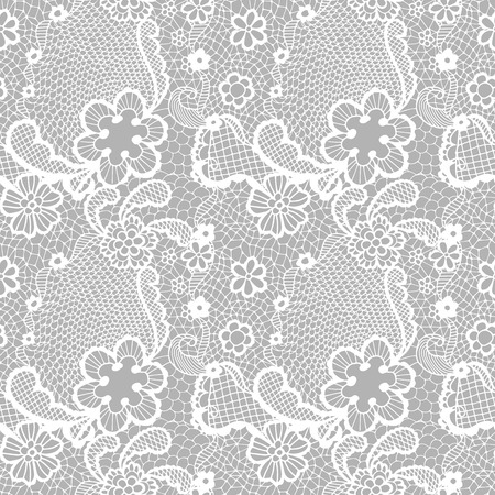 vintage lace: white lace seamless pattern with flowers on grey background