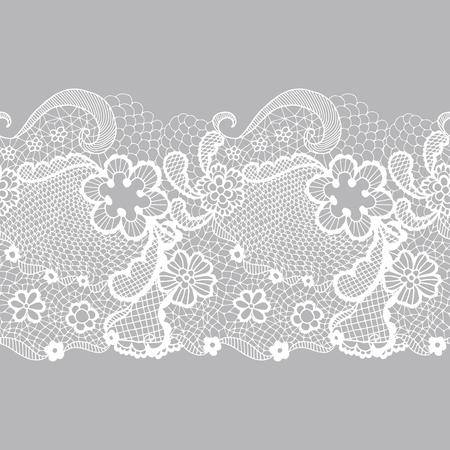 lace pattern: White lacy vintage elegant trim. Vector illustration.