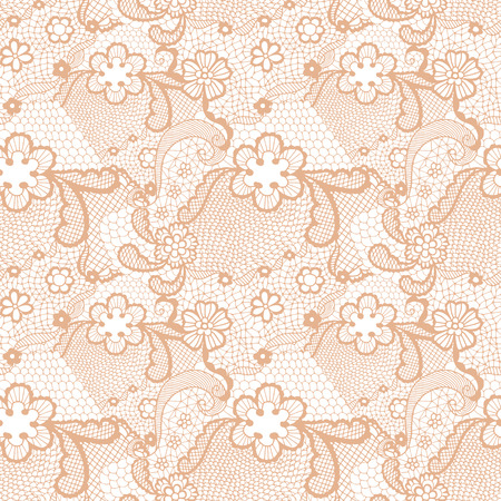 the womanly: Beige lace seamless pattern with flowers on white background