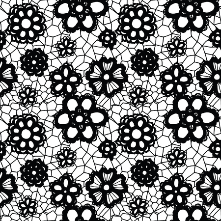 flowers on white: Lace black seamless pattern with flowers on white background