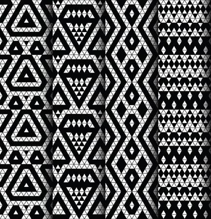monochromic: Tribal monochrome lace patterns. Trendy modern patterns for your design. Vector illustration. Illustration