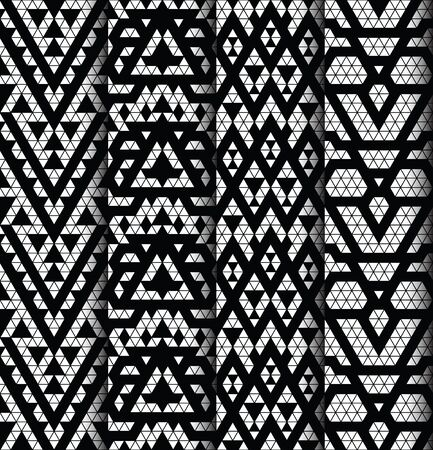 monochromic: Tribal monochrome lace patterns. Trendy modern patterns for your design. Vector illustration. Illustration