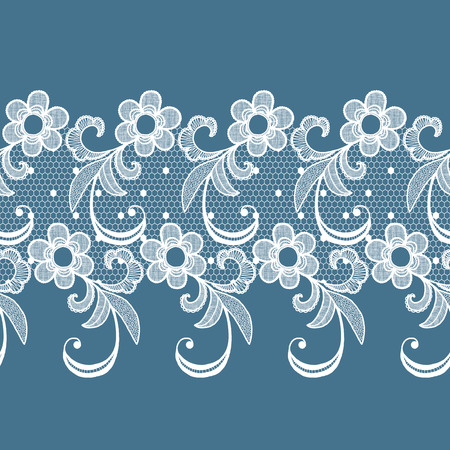 edge: White lacy vintage elegant trim. Vector illustration.