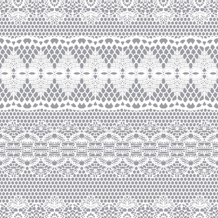 ornamental design: Lace white seamless pattern. Lace pattern with stripes.