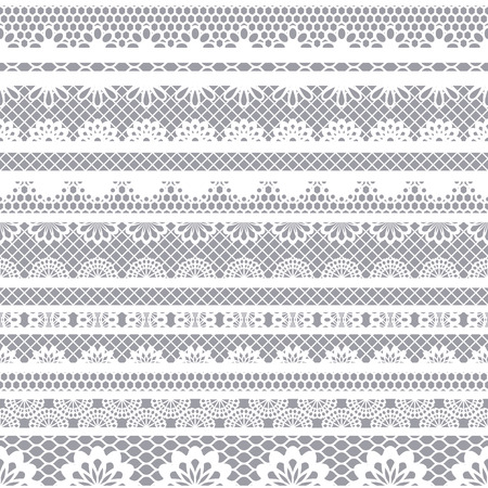 Kant wit naadloos patroon. Kantpatroon met strepen.