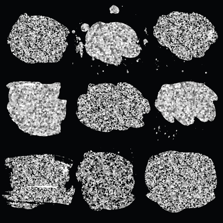 blots: Set of glitter silver blots.