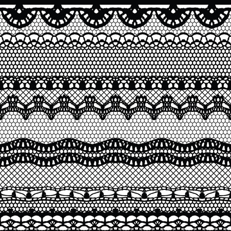 white wedding: Lace black seamless pattern. Lace pattern with stripes.