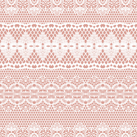 pink stripes: Lace white seamless pattern. Lace pattern with stripes. Vector illustration.