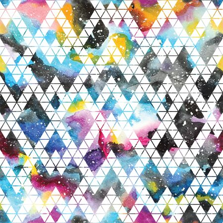 geometric shapes: Tribal galaxy seamless pattern. Vector trendy illustration.