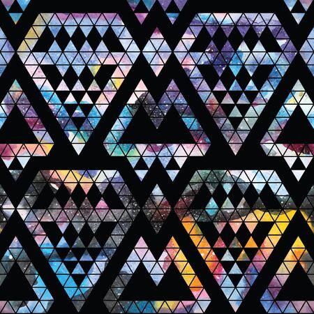 trendy: Tribal galaxy seamless pattern. Vector trendy illustration.