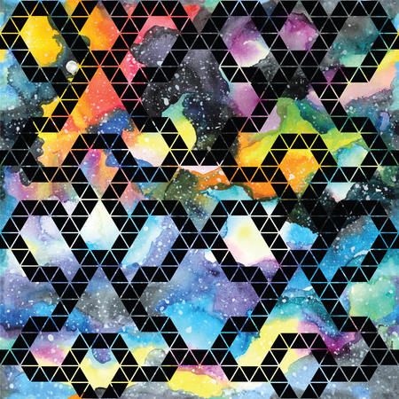 retro patterns: Tribal galaxy seamless pattern. Vector trendy illustration.