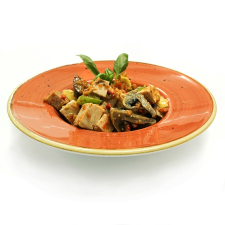 goulash: Hot  goulash with vegetables on big plate.