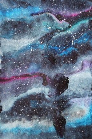 raster: Watercolor galaxy illustration. Raster trendy modern illustration.