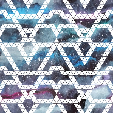 geometric shapes: Galaxy seamless pattern with triangles and geometric shapes. Vector trendy illustration.