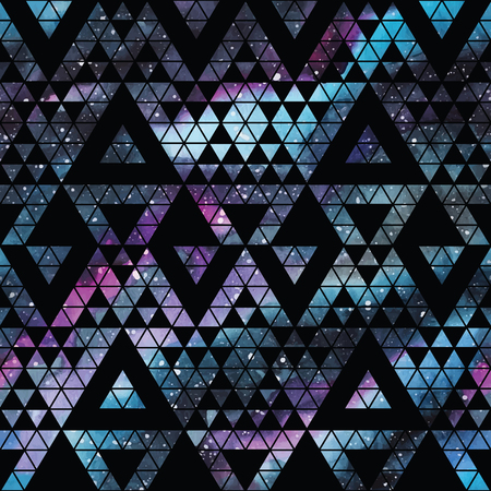 Galaxy seamless pattern with triangles and geometric shapes. Vector trendy illustration. Stock fotó - 56645927