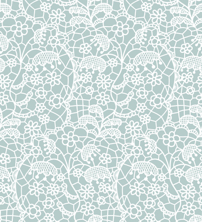 the womanly: White lace seamless pattern with flowers on blue background