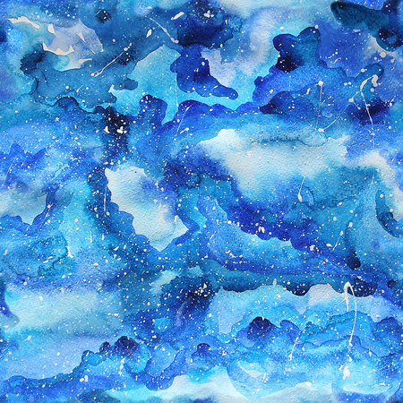 Watercolor galaxy illustration. Raster trendy modern illustration. Seamless pattern.