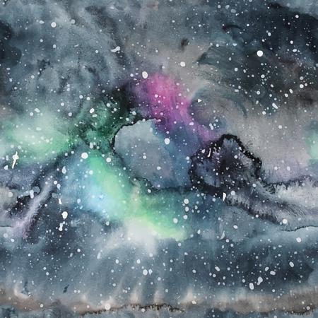 trendy: Watercolor galaxy illustration. Vector trendy modern illustration. Illustration