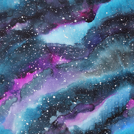 Watercolor galaxy illustration. Raster trendy modern illustration. Seamless pattern.