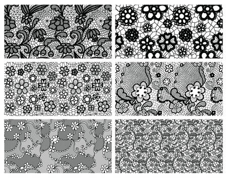 the womanly: Lace seamless patterns with flowers. Vector illustration.