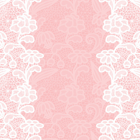 lace vector: Seamless lace border. Vector illustration. White lacy vintage elegant trim.