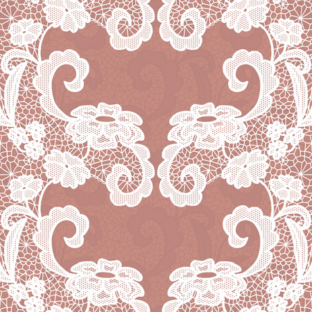 lacy: Seamless lace border. Vector illustration. White lacy vintage elegant trim.