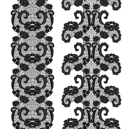 trims: Black lacy vintage elegant trims Illustration