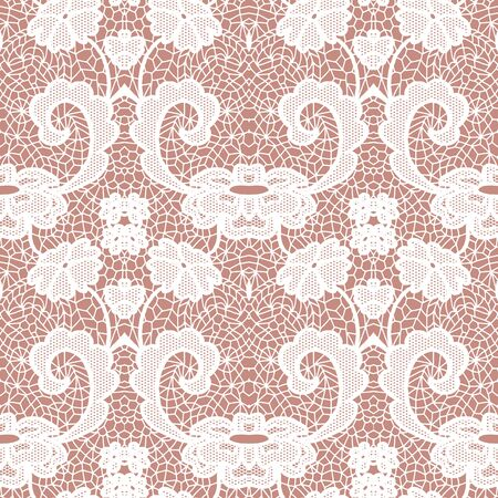 ladylike: White lace seamless pattern with flowers on beige Illustration