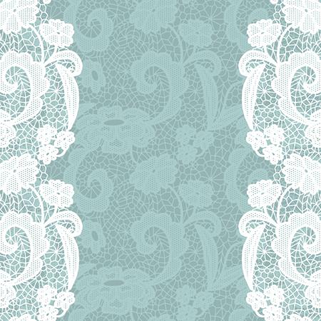 lacework: Seamless lace border. White lacy vintage elegant trim. Illustration
