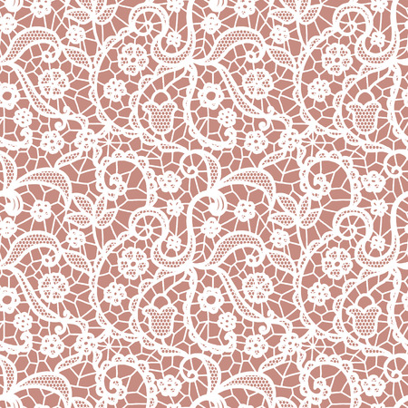 White lace seamless pattern with flowers on beige background Illustration