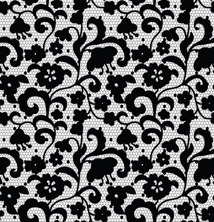 lace pattern: Lace black seamless pattern with flowers on white background