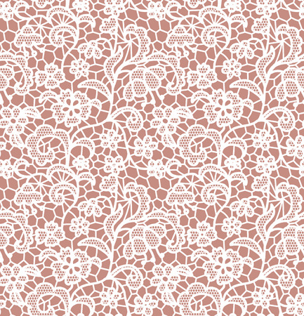 the womanly: White lace seamless pattern with flowers on beige background Illustration