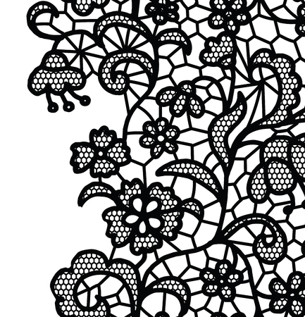 ruban noir: Seamless bordure en dentelle. Vector illustration. Blanc dentelle de garniture élégante vintage.